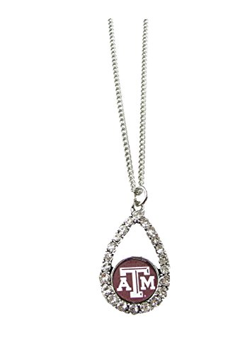 - Sports Accessory Store Texas A&M Aggies Maroon Teardrop Clear Crystal Silver Necklace Jewelry TAMU