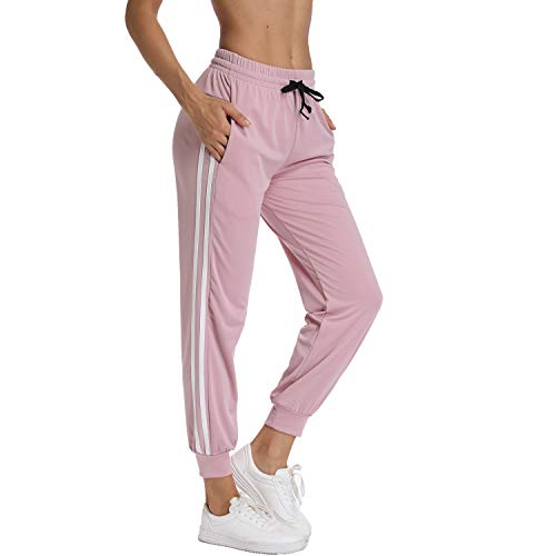 FITTOO Women's White Stripe Side Patchwork Panels Jogger Pants Ankle Elastic Running Sweatpants Pink XL