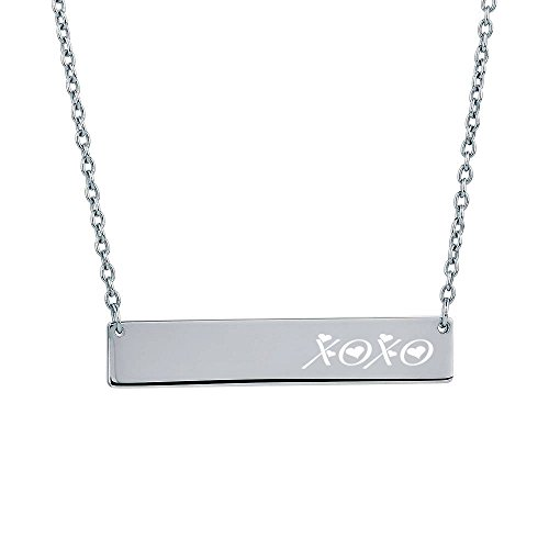 Personalized Silver Stainless Steel Horizontal Name Bar Nameplate Necklace Pendant Engraved Free