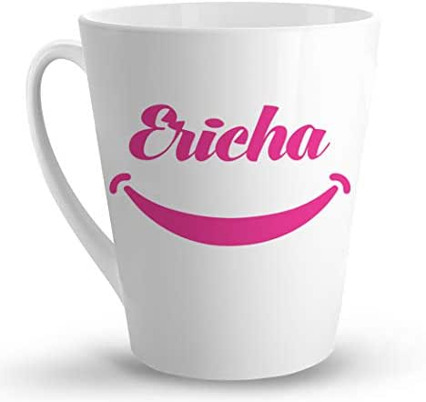Makoroni - Ericha Female Name - 12 Oz. Unique Ceramic Coffee Cup, LATTE MUG