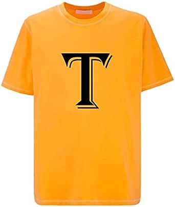 IMPRESS Golden Polyester T Shirt with Algerian Letter T Design