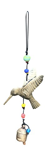 Nickanny's The Hummingbird in Flight with Beads 15 in Long Wind Chime Iron and Glass
