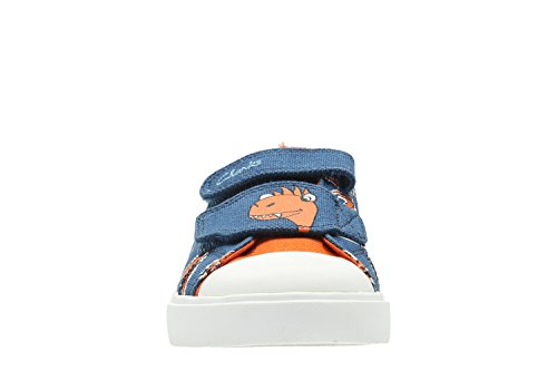 Clarks Tricer Roar, Jungen Sneaker Blau Leinen