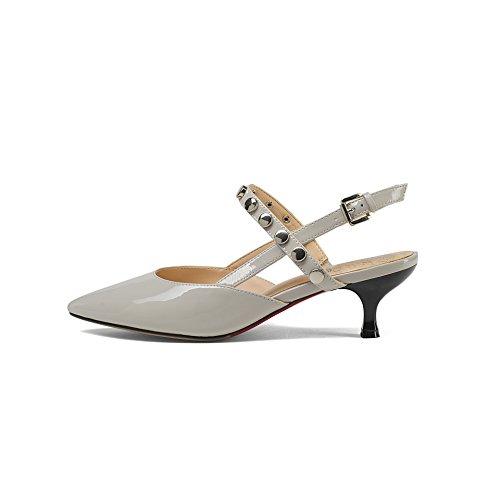 Scarpe chiaro 5cm Alla sottile tacchi rivetti capi rivetti Sharp Da Moda AJUNR 37 medio Donna Sandali 38 legami metallo grigio qtwx6zaZX