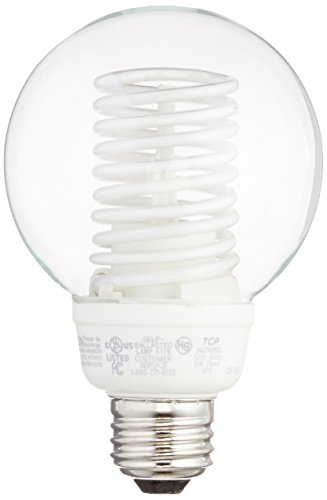 TCP 8G2508CL Cold Cathode Decorative G25 - 40 Watt eq. (only 8w used) Soft White (2700K) Medium Base Clear Globe Light Bulb (300 Lumens)