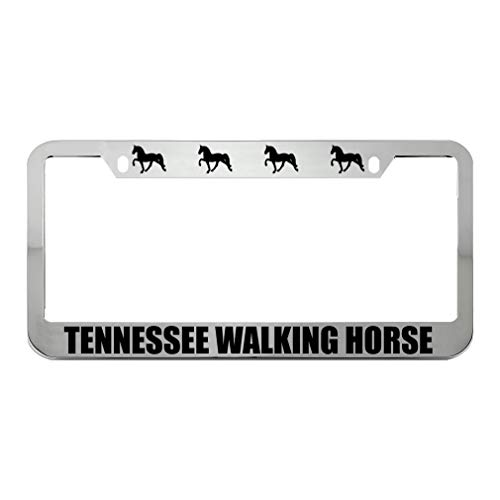 Speedy Pros Tennessee Walking Horse Zinc Metal License Plate Frame Car Auto Tag Holder - Chrome 2 Holes