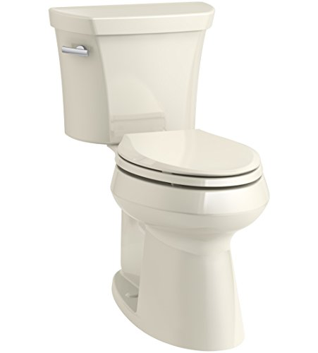 KOHLER K-76301-47 Highline Concealed Trapway Comfort Height Two-Piece Elongated 1.28 GPF Toilet with Class Five Flush Technology and Left-Hand Trip Lever, Almond