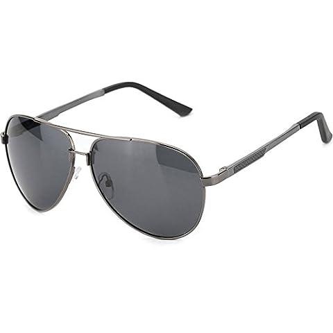 8Bees Polarized Aviator Sunglasses Driving UV400 Vintage Sun Glasses for Men and Women with Case (Aluminum Case Sunglasses)