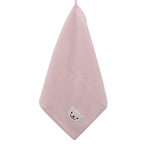 Firecolor Small Square Cotton Towel Cartoon Bear Towel Handkerchief Soft Portable Travel Accessories,Pink ()