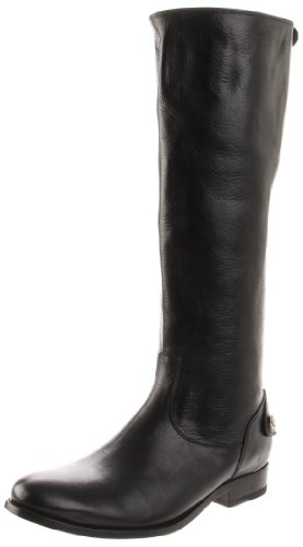 FRYE Women's Melissa Button Back-Zip Boot, Black Smooth Vintage Leather, 11 M US