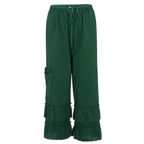 CCatyam Plus Size Pants for Women, Solid Wide Leg Ruffled Trousers Loose Pocket Waist Casual Green