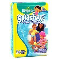 Pampers Splashers Swim Diapers Size 3-4 (16-64lbs) 18 ea, 8 Packs by Pampers