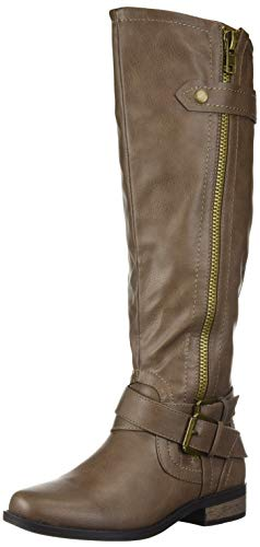 (Rampage Women's Hansel Zipper and Buckle Knee-High Riding Boot, Taupe Smooth, 8.5 B(M) Standard Calf)