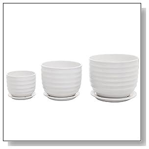 Set of 3 Small to Medium Sized Round Modern Ceramic Garden Flower Pots, White