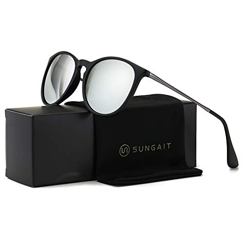 SUNGAIT Vintage Round Sunglasses for Women Classic Retro Designer Style (Black Frame(Matte Finish)/Silver Lens) 1567 SHKSY (Mirror Unusual Frames)