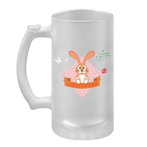 Personalized Custom Text Brown Bunny Frosted Glass Stein Beer Mug