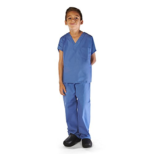 Super Soft Children Scrub Set Kids Doctor Dress up (8/10, Ceil Blue) -