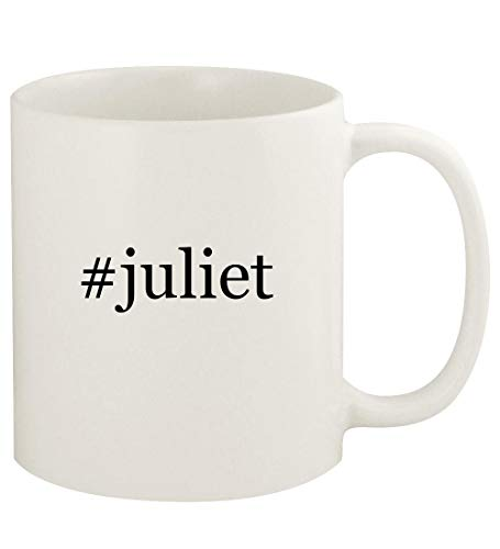 #juliet - 11oz Hashtag Ceramic White Coffee Mug Cup, White (Gnomeo And Juliet Ii)