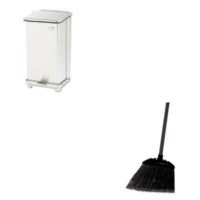 KITRCP637400BLARCPST12SSPL - Value Kit - Rubbermaid Defenders Biohazard Step Can (RCPST12SSPL) and Rubbermaid-Black Brute Angled Lobby Broom (RCP637400BLA) by Rubbermaid