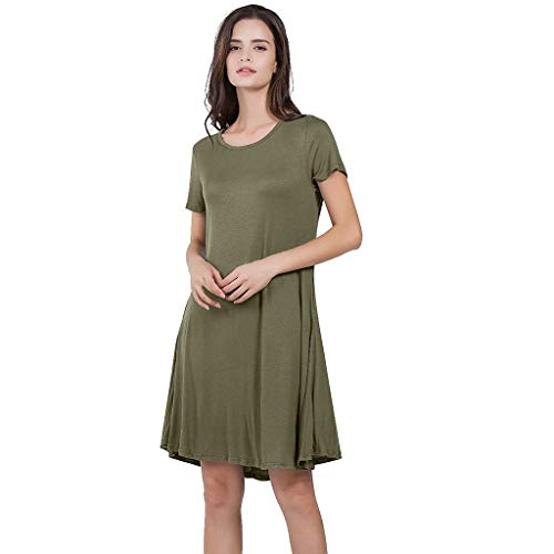 Dressin Women Basic Dress,Fashion Knee Length Solid Mini Dress Short Sleeve Crew Neck Dress Dress Summer Sundress Army Green