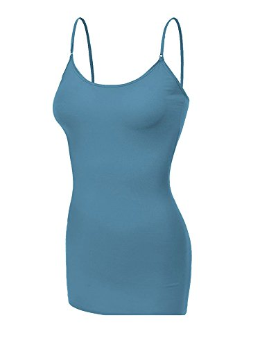Emmalise Clothing Women's Basic Casual Plain Long Camisole Cami Top Tank, Denim Blue, X-Large ()