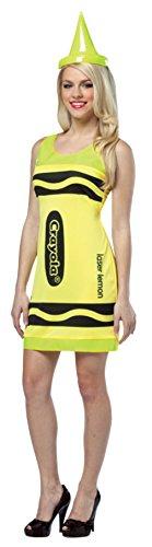 Rasta Imposta Womens Crayola Crayon Tank Dress Neon Yellow Comical Fancy Costume, One Size (Crayola Crayon Tank Dress Costumes)