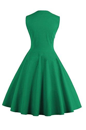 YMING Vestido de partido del Rockabilly del oscilación de Audrey Hepburn del retro de los años 50 de las mujeres, S-4XL Verde