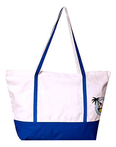 - Eco Playa Del Caribe Deluxe Zipper Top Canvas Beach Boat Bag - Custom Personalization Available (Natural - Blue Trim - No Embroidery)