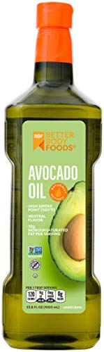 BetterBody Foods Refined Non-GMO Cooking Avocado Oil for Paleo and Keto, 1 Liter, 33.8 Fl Oz