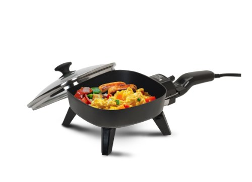 Non Stick Square Wok - Elite Cuisine EFS-400 Maxi-Matic 7-Inch Non-Stick Electric Skillet with Glass Lid, Black