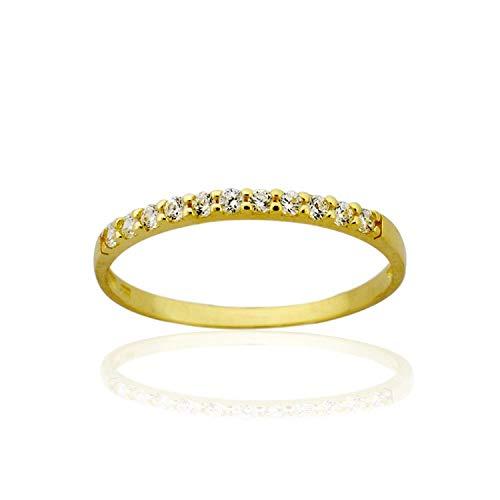 AVORA 10K Yellow Gold Simulated Diamond CZ Half Eternity Band Stackable Ring