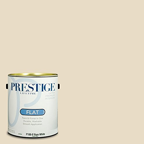 Prestige Paints P100-P-SW6126 Interior Paint and Primer in One, 1-Gallon, Flat, Comparable Match of Sherwin Williams Navajo White, 1 Gallon, SW126-Navajo