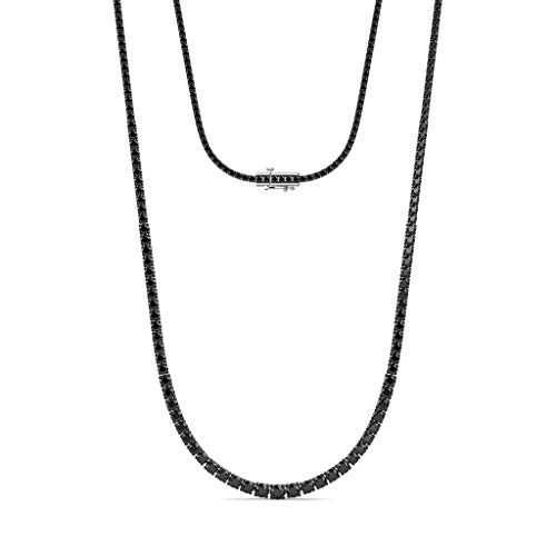 TriJewels Round Black Diamond Graduated Eternity Tennis Necklace 8.35 ctw Rhodium Plated 925 Sterling Silver