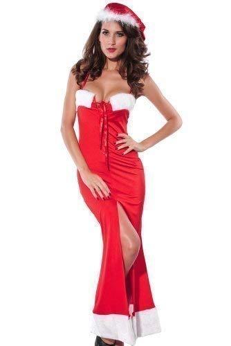 Mujer Sexy Cordones Vestido largo Mamá Noel Navidad Traje ...
