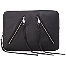 "Rebecca Minkoff RMMB-002-BLK Moto Sleeve for 13"" MacBook, Laptops, Black Pebble Leather"