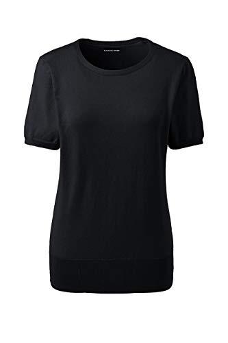- Lands' End Women's Supima Cotton Short Sleeve Sweater Black