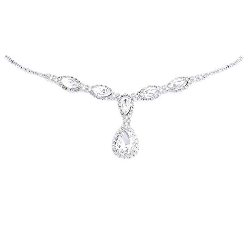 - Rosemarie Collections Women's Elegant Crystal Rhinestone Adjustable Slide Backdrop Style Bridal Necklace (Silver Tone Teardrop)