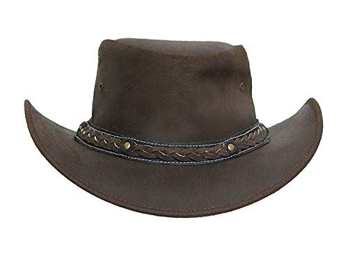 - Brandslock Mens Leather Cowboy Hat Down Under Outback Wide Brim Black/Brown (2XL, Brown)
