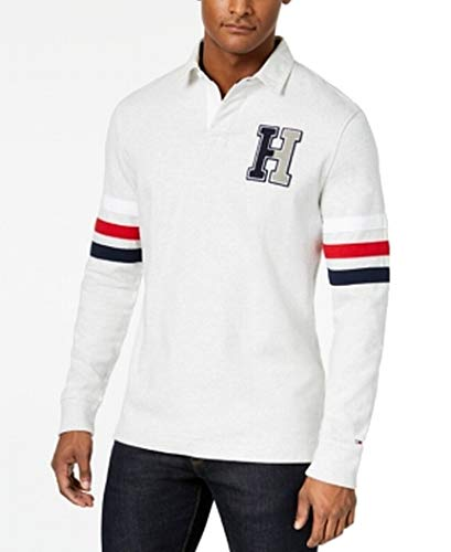 Tommy Hilfiger Men's Kunitz Rugby Classic Fit Polo Shirt (Large) Grey