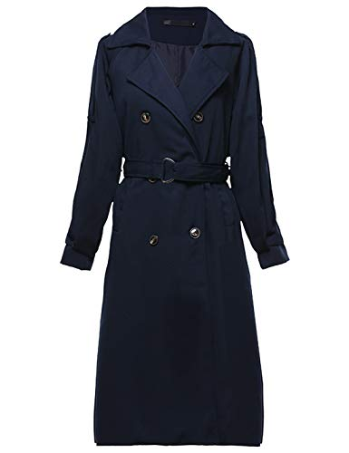 - Yeokou Women's Causal Double Breasted Spring Fall Long Trench Coat with Belt (X-Small, Navy Blue)