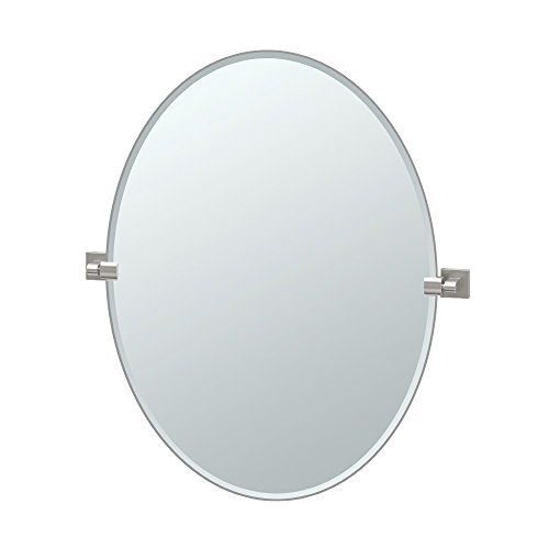 Gatco 4079LG Elevate Frameless Oval Mirror, Satin Nickel, 32