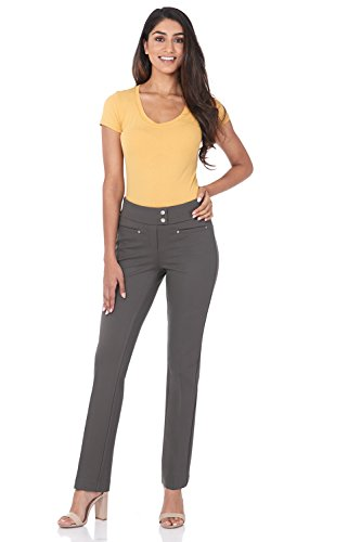 Rekucci Women's Secret Figure Pull-On Knit Straight Pant w/Tummy Control (4,Moss) ()