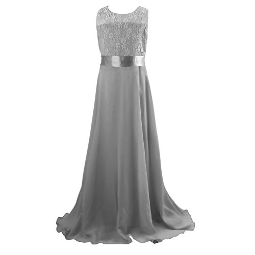 Beautiful Gown (Floor Length Dress, Acecharming Big Girls Lace Chiffon Dress Wedding Bridesmaid Dress Dance Party Gown Maxi Girl Long Dress Gray Size 11(Suitable for 10-11 Years))