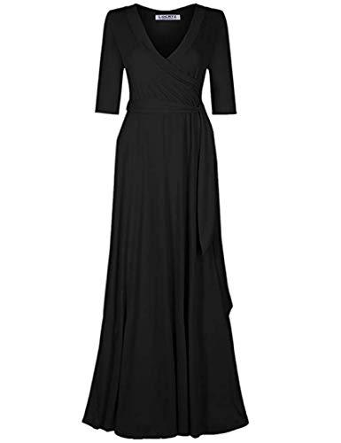 Locryz Maxi Dresses for Women 3/4 Sleeve Wrap Long Dress (Black,L) ()