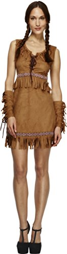 Smiffy's Women's Fever Pocahontas Costume, Dress and Arm Cuffs, Western, Fever, Size 6-8, 32042 ()