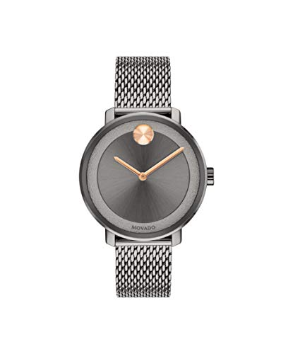 Movado Bold, Grey Ion-Plated Stainless Steel Case, Grey Dial, Grey Ion-Plated Stainless Steel Mesh Bracelet, Women, 3600581