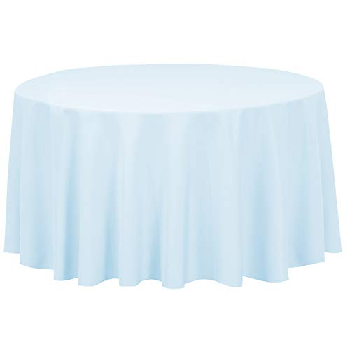 LinenTablecloth 120-Inch Round Polyester Tablecloth Baby Blue ()