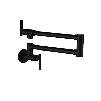 Pot Filler Double Joint Spout Folding Stretchable Swing Arm Wall Mounted Brass Kitchen Faucet, Single Hole Two Handle Kitchen Sink Faucet PHASAT,71211-P