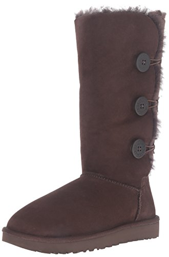 UGG Women's Bailey Button Triplet II Winter Boot, Chocolate, 9 M US (2018 Ugg Winter)