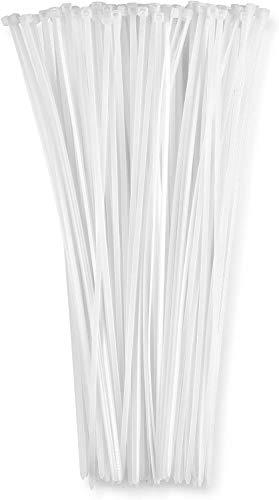 """12"""" Inch Zip Ties White (100 Pack), 40lb"""
